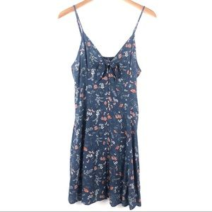American Eagle blue floral knot front button dress